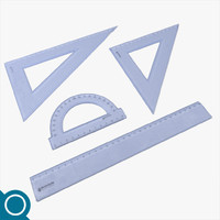 3d model of plastic rulers