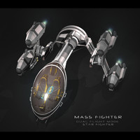 sci-fi fighter mass 3d obj