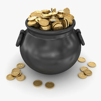 3d model pot gold coin