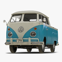 Volkswagen Type 2 Double Cab Pick Up Simple Interior Blue 2