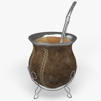 yerba mate infusion straw 3d model