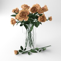 3d bouquet orange roses