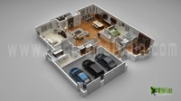 Floor Plan for 3d Modern Home With Parking Slot