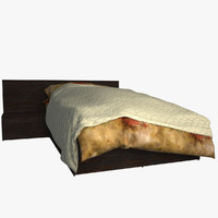 3d v-ray bed mattress pillow model