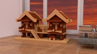 3d decoration wooden house