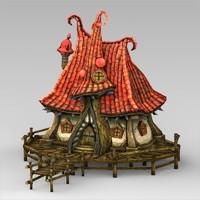 fantasy water hut 3d obj