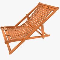 3d model deck wooden chair