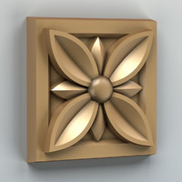 3d model of carved square rosette