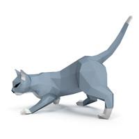 3d model paper cat