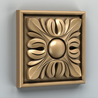 carved square rosette 3d max