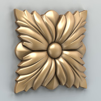 carved square rosette 3d model