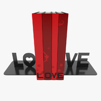bookends love books 3d model