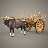 realistic ox cart 3d lwo
