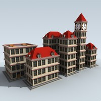 cartoon buildings 3d model