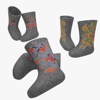 3d model felt boots