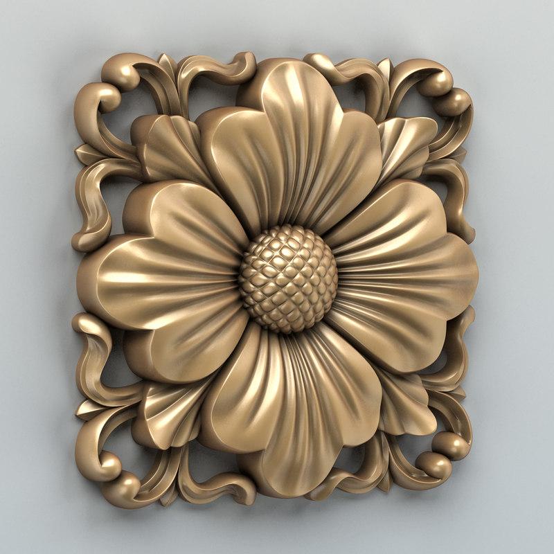 D carved square rosette
