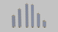 3d model toon skyscrapers pack