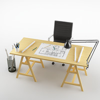 3d model desk architect - engineer