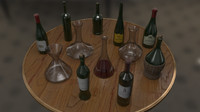 wine bottles decanters 3d 3ds