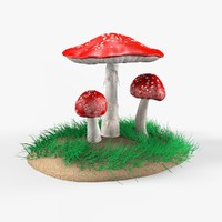 amanita mushrooms 3d obj