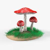 amanita mushrooms 3d obj