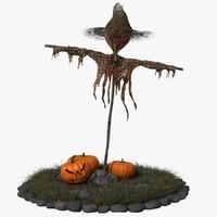 3d model scarecrow pumpkins diorama