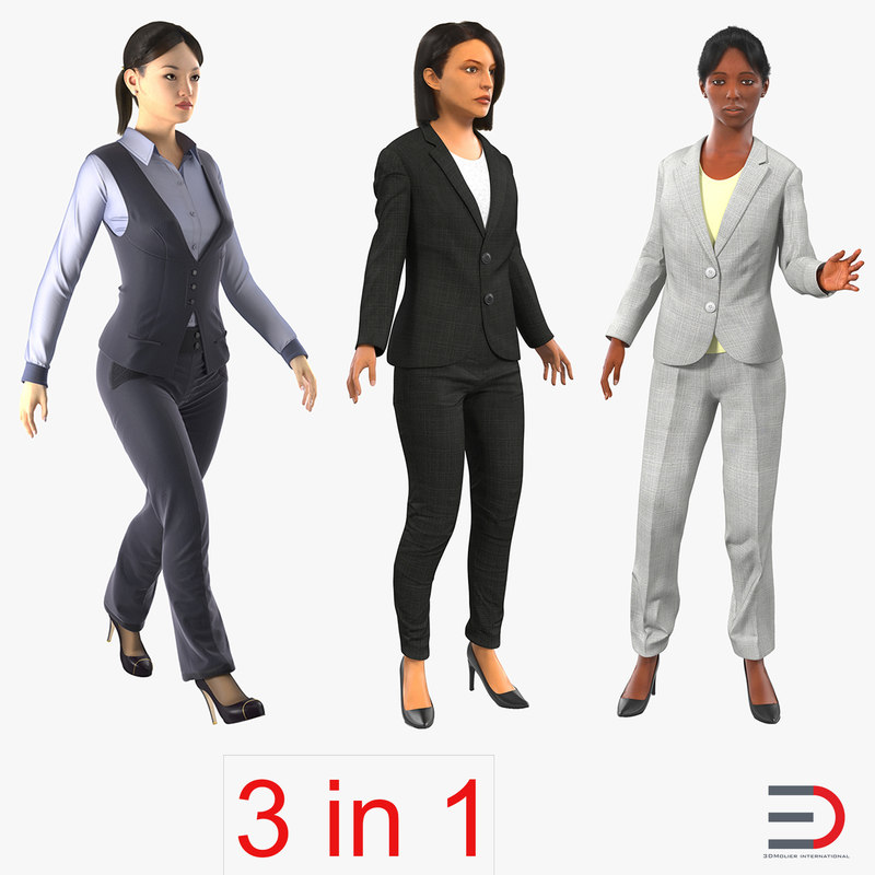 Rigged Business Womans Collection 3d models 00.jpg