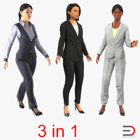 rigged business womans 2 3d model
