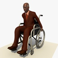 c4d old african man wheel chair