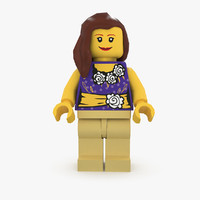 female lego character 3d model