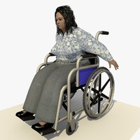 3d european woman wheel chair