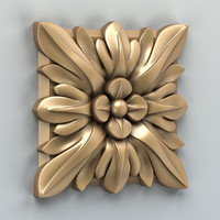 3d carved square rosette model
