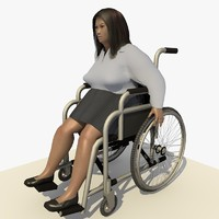 c4d asian woman wheel chair