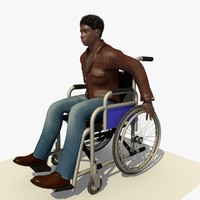 c4d young man wheel chair