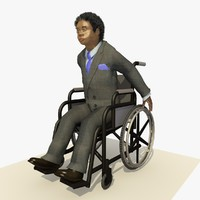 3d model african business man wheel chair