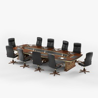 conference table chairs 3d 3ds