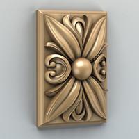 3d model carved square rosette