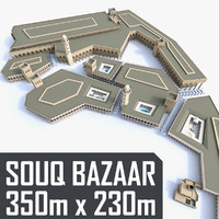 souq marketplace courtyards 3d model