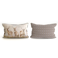 Voyage Cushion - Deers (Piped Pillow)