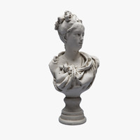 sculpture young woman bust 3d max