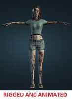 3d zombie woman rigged model