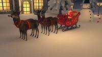 3d santa s reindeer claus model