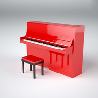 Red upright piano