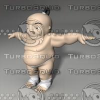 3d model cartoon sumo wrestler