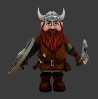 Gnome dwarf (low poly game  model)