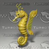 cartoon seahorse 3d obj