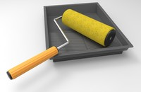Paint roller and paint tray set
