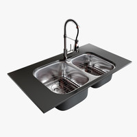 Double Bowl Sink With Faucet