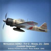 lightwave mitsubishi a6m2 zero aircraft carrier