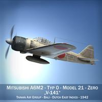 mitsubishi a6m2 zero - 3d c4d